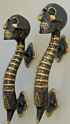 "2 small SKULL head handle DOOR PULL spine AGED  BRASS old style 8"" B 3"