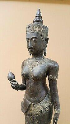 ANTIQUE BRONZE STATUE OF A FEMALE DEVATA, AYUTTHAYA. KHMER INFLUENCE. 19/20th C. 7