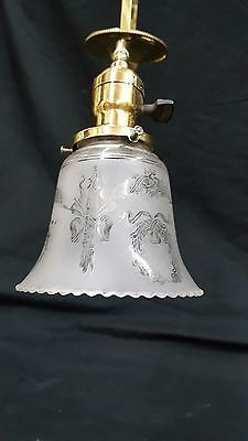 Antique Brass Ceiling Light Fixture Chandelier With Two Etched Glass Shades 8