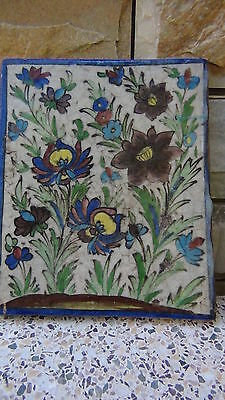 "ANTIQUE 18c-19c ARABIC ISLAMIC POTTERY GLAZED ""FLOWERS"" WALL PLAQUE 2"