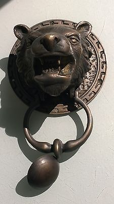 LION TIGER head old heavy front Door Knocker SOLID BRASS vintage antique style B 7