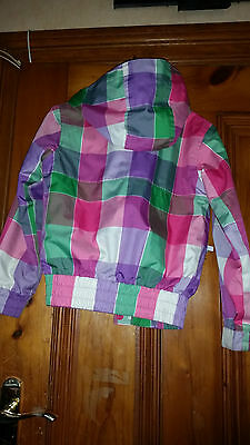 Girls Animal Technical Multi Coloured Checked Jacket With Earphone Pocket Sz Gsx 4