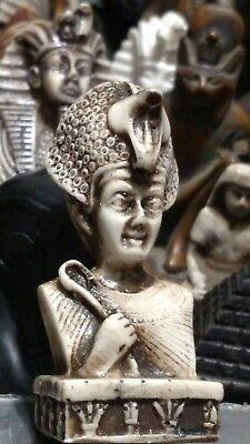 King Tutankhamen wearing cobra-shaped crown, Hand Carved Natural Stone, 65mm