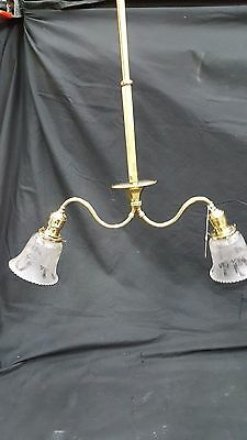Antique Brass Ceiling Light Fixture Chandelier With Two Etched Glass Shades 9