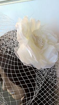 ivory satin flower black veiling fascinator hair clip ascot wedding bridal 2