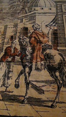 "Antique Persian Islamic Silk Rug Street Market Scene 49"" X 77"" 3"