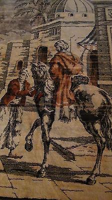 "Antique Persian Islamic Silk Rug Street Market Scene 49"" X 77"" 3"