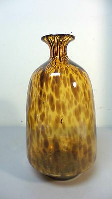 "Beautiful Mid-Century Tortoise Shell Art Glass Hand Blown Vase, 10.5"" 8"