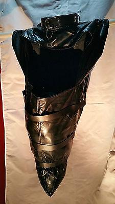 Sissy maid Black Restraint boots Arm Binder UK Post