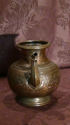 Antique 18C Islamic Copper Punjab Water Pitcher,jug Hand Engraved Islamic 3