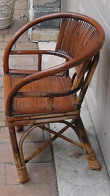 ANTIQUE 19c CHINESE BAMBOO RATTAN CHILD ARM CHAIR 3