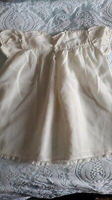 Vintage Mid Century Baby Bairnswear  Ivory Nylon Silk Short Christening Dress 4