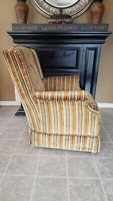 Vintage Gold Striped Velvet Fabric Tufted Arm Chair - VGC 5