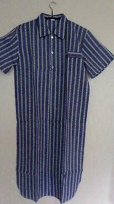 atisa Herren Nachthemd gewebt Kurzer Arm Baumwolle Blau//Mint Gr.48 NEU OVP
