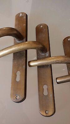 Lot 4 ART DECO BRASS BRONZE DOOR HANDLES VINTAGE 2