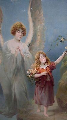 Haghe Art Print of Vintage Art Guardian Angel of the Bridge I by M.M