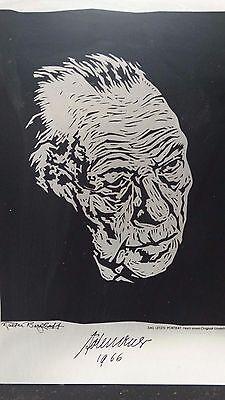 Walter Berghoff Linolschnitt ? Gemälde Konrad Adenauer Zeichnung ? Metall Bild