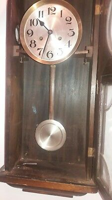 Antique English Oak Wall Clock Jahresuhrenfabrik- Triberg Germany Movement 4