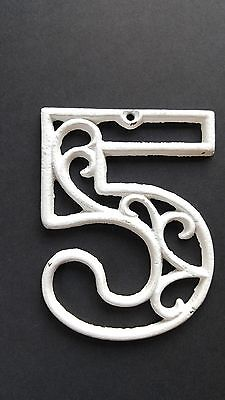 Vintage Mid-Century House Numbers 3 & 5 White Paint Swirl Design Cast Iron 4