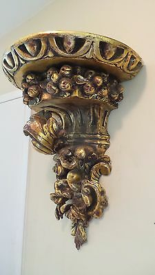 Antique Gilded Carved Wall Sconce Impressive Size 8