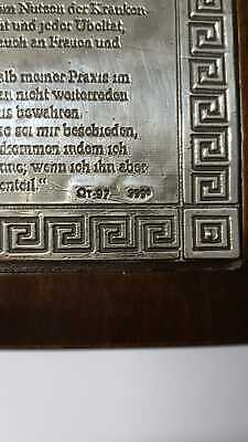 EID DES HIPPOKRATES Bildtafel 999 Silber Arztpraxis Dekoration Oath Hippocrates 3