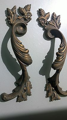 "4 Large handle DOOR PULLS solid BRASS old vintage antique style 11 "" long heavyB 5"