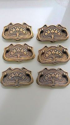 6 large DECO cabinet handles solid brass furniture antiques age old style 110mmB 6