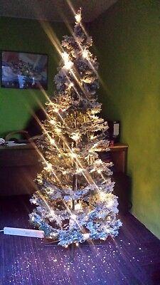 6ft Adventa Snow Pop Up Pre Lit Christmas Tree 360 Rotate Manually