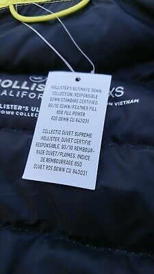 MENS HOLLISTER ULTIMATE Down Collection Jacket, XS, BNWT