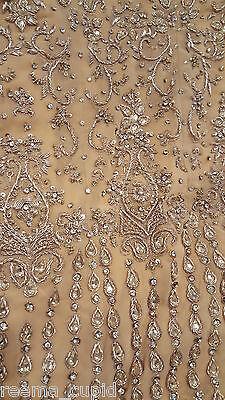 New Womens Cream Gold Maroon Wedding Dress Indian Pakistani Asian Small 6