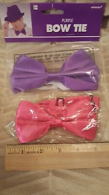 Set of 2 - Satin Bow Ties, Fuchsia & Purple - Brand New in Package
