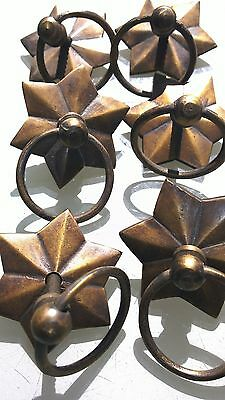 """24 star handle KNOB aged old solid Brass PULL ring knob kitchen 2 """" heavy 2"""