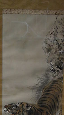 ANTIQUE 19c JAPANESE TIGER POLYCHROME INK SCROLL PAINTING ,ARTIST SIGN AND SEAL