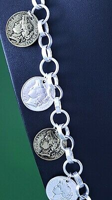 """Chunky Silver Link Chain Silver Colour Roman Coin  Long Lagenlook Necklace 33 /"""""""