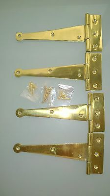 """4 POLISHED 6 """" hinges vintage aged style solid Brass DOOR BOX restoration heavy 3"""