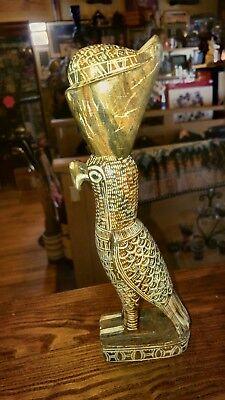 "Vintage EGYPTIAN God HORUS Falcon STATUE Carved Stone 10.5"" Beautiful Heavy"