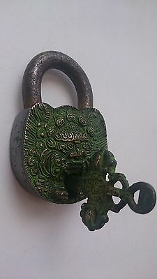 Vintage Solid Bronze Engraved Padlock W/Key № 35 2