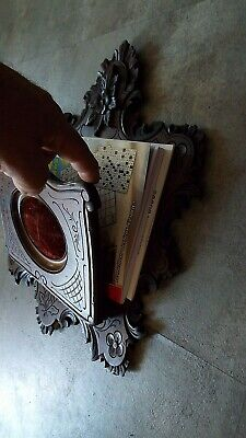 antique black Fores Wood wall Magazine Holde Rack Stand Newspaper Book Mail Card 10
