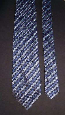 Hugo Boss Blue Black & White Geometric Striped Silk Necktie, MI Italy