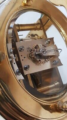 Large Oval Case Ormolu Repeat Strike 4 Glass Carriage Clock 8