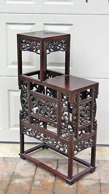 Antique Chinese Rosewood Handcarved Pierced Dragon Step Tansu Plant Stand #2 3