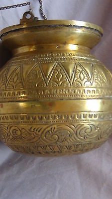 ANTIQUE 19c ARABIC ISLAMIC BRASS INGRAVED RELIEF ORNAMENT VESSEL,POR WITH CHAIN 4 • CAD $285.81