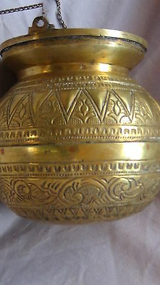 ANTIQUE 19c ARABIC ISLAMIC BRASS INGRAVED RELIEF ORNAMENT VESSEL,POR WITH CHAIN 4