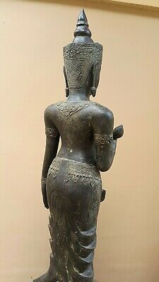 ANTIQUE BRONZE STATUE OF A FEMALE DEVATA, AYUTTHAYA. KHMER INFLUENCE. 19/20th C. 9