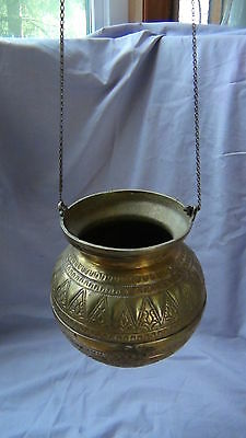 ANTIQUE 19c ARABIC ISLAMIC BRASS INGRAVED RELIEF ORNAMENT VESSEL,POR WITH CHAIN 8
