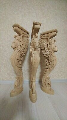 """38"""" Wooden stairs Baluster Newel, oak carved  gryphon statue, decorative element 4"""