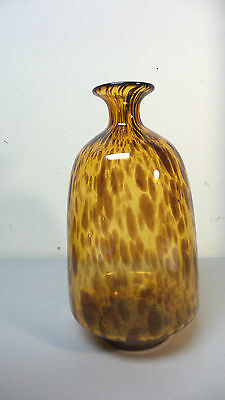 "Beautiful Mid-Century Tortoise Shell Art Glass Hand Blown Vase, 10.5"" 7"
