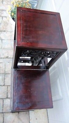 Antique Chinese Rosewood Handcarved Pierced Dragon Step Tansu Plant Stand #2 10