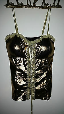 Womens Sexy Gold Lace Up Night/Dance Top With Padded Cups! 3