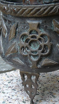 Antique 18C Islamic Middle Eastern Bronze Footed High Ornamental Floor Pot 2